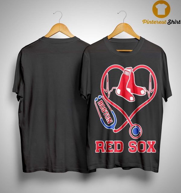 Nurse Baseball Stethoscope Heartbeat Boston Red Sox Shirt