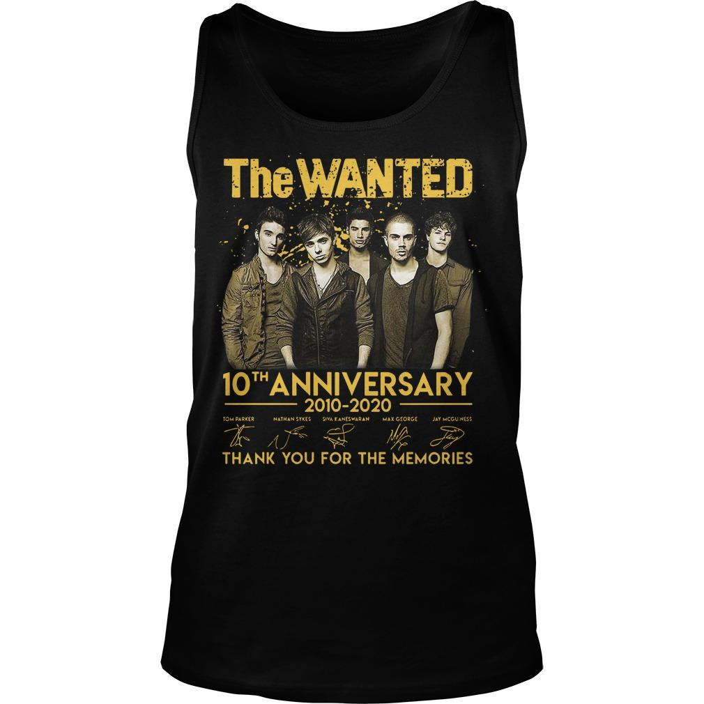 The Wanted 10th Anniversary 2010 2020 Thank You For The Memories Signatures Tank Top