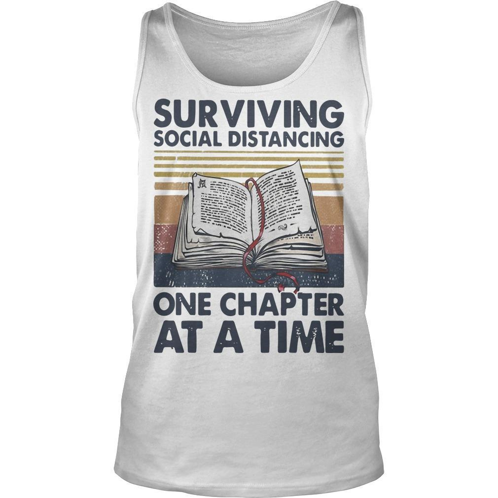 Vintage Book Surviving Social Distancing One Chapter At A Time Tank Top