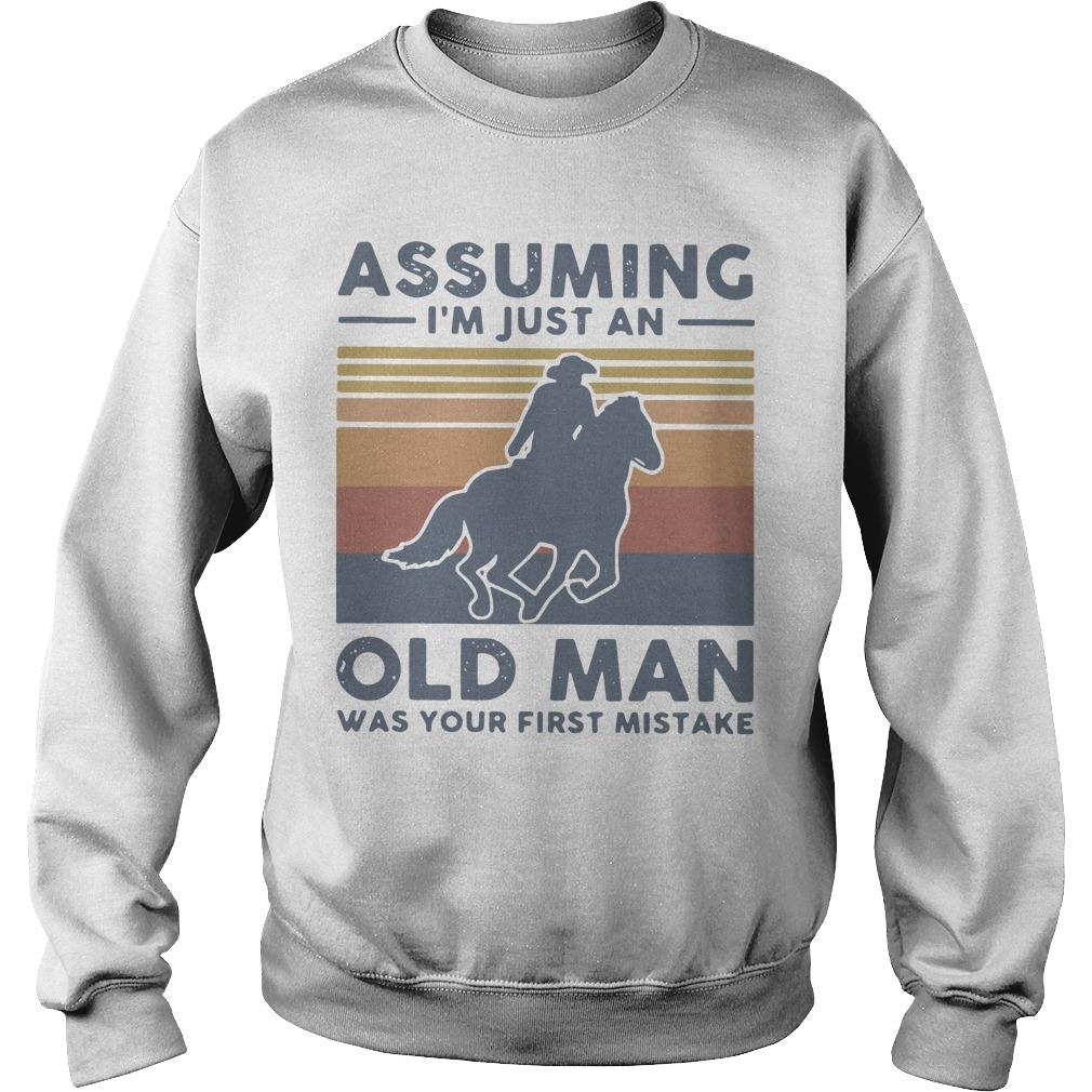 Vintage Equestrian Riding Horse Assuming I'm Just An Old Man Sweater