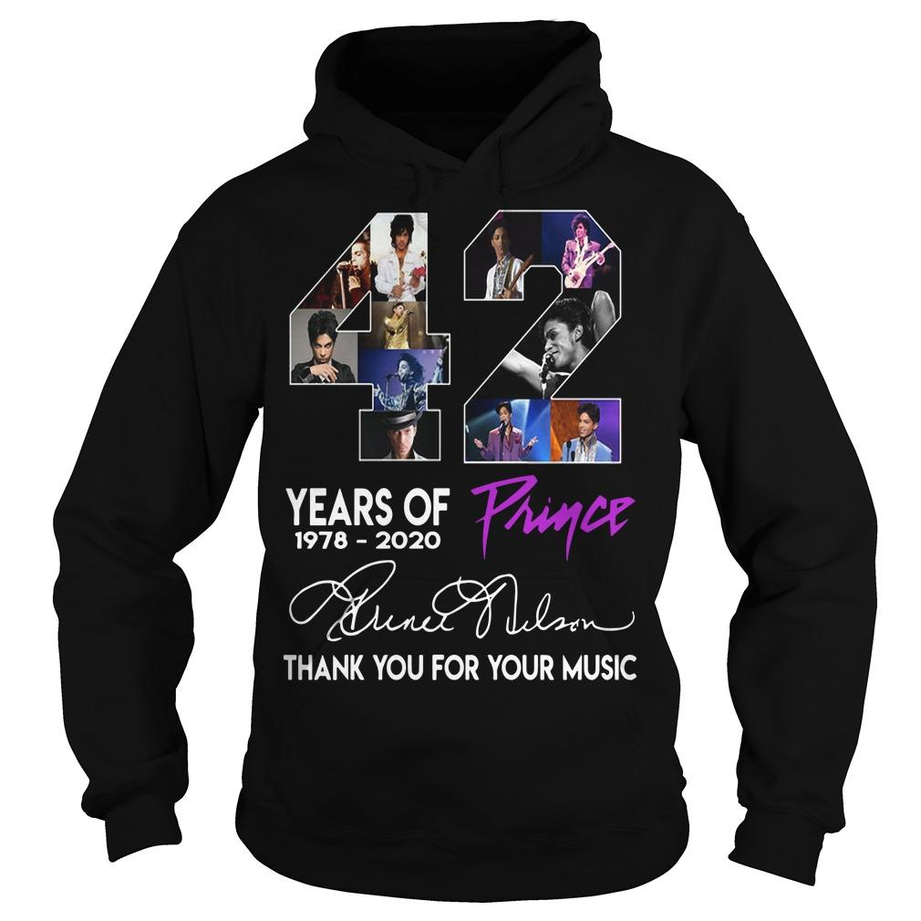 42 Years Of Prince Thank You For Your Music Hoodie