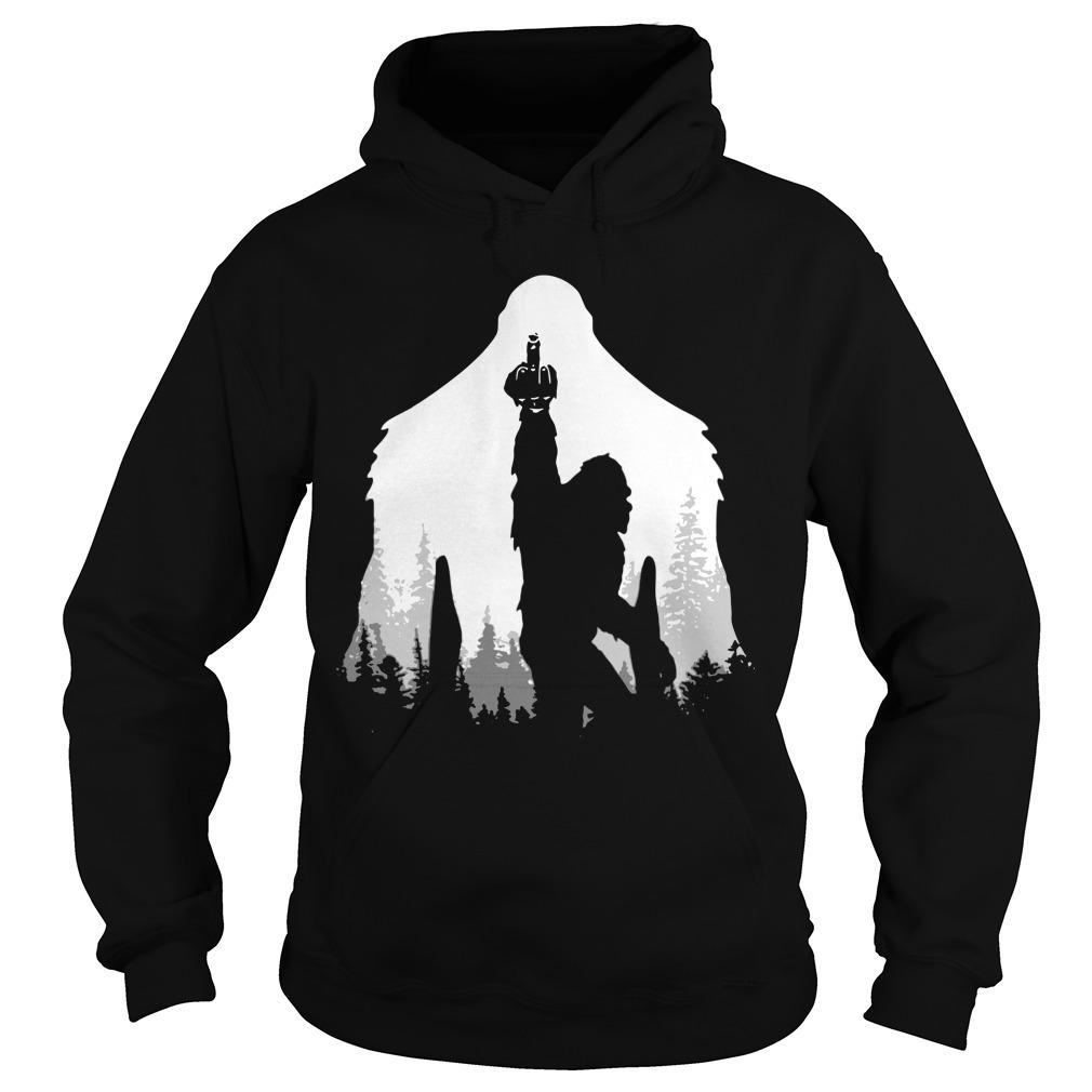 Bigfoot Middle Finger In The Forest Hoodie