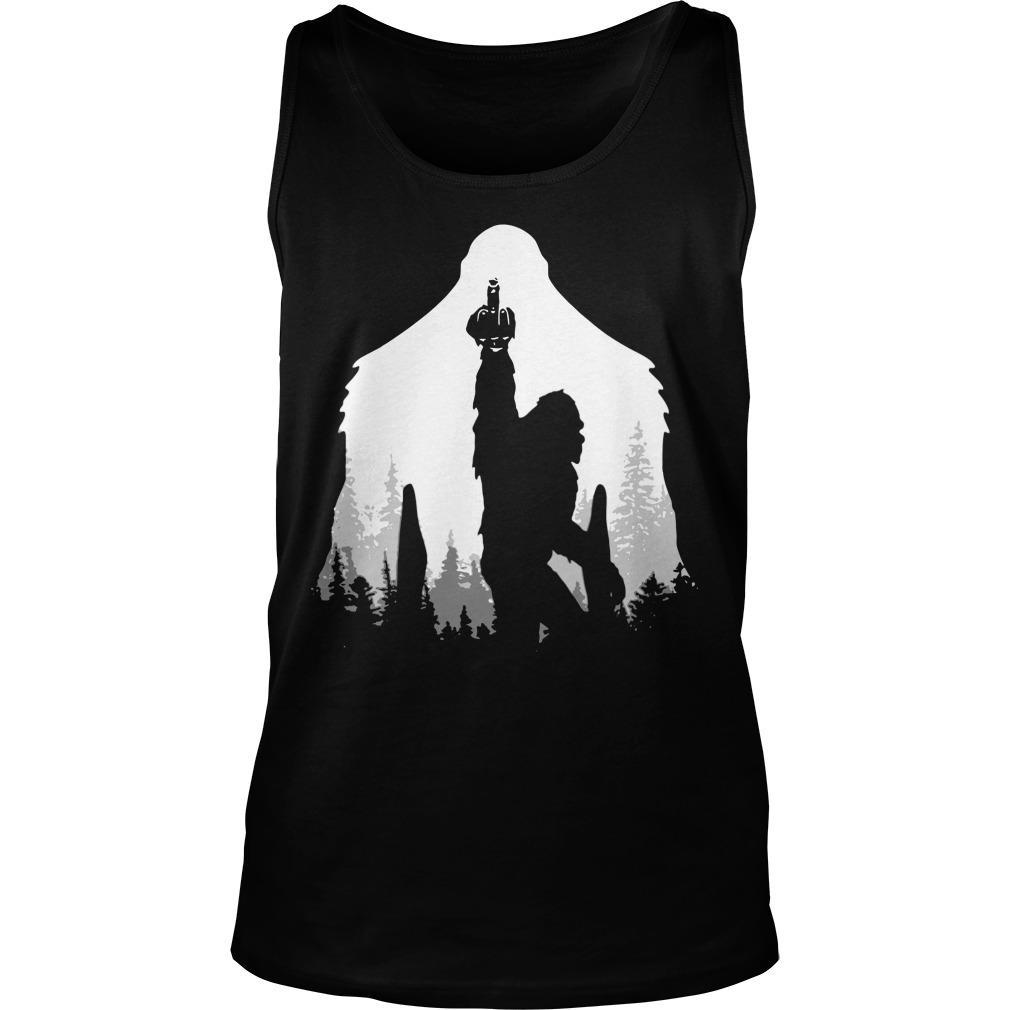 Bigfoot Middle Finger In The Forest Tank Top