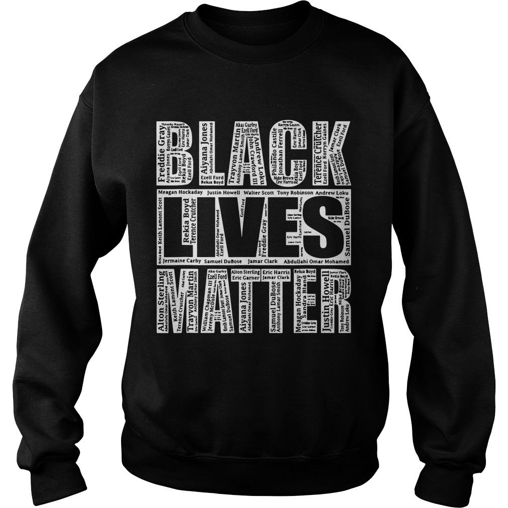 Black Lives Matter With Names Of Victims Sweater