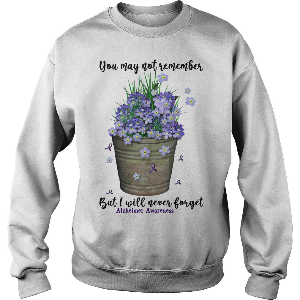 You May Not Remember But I Will Never Forget Alzheimer Awareness Sweater