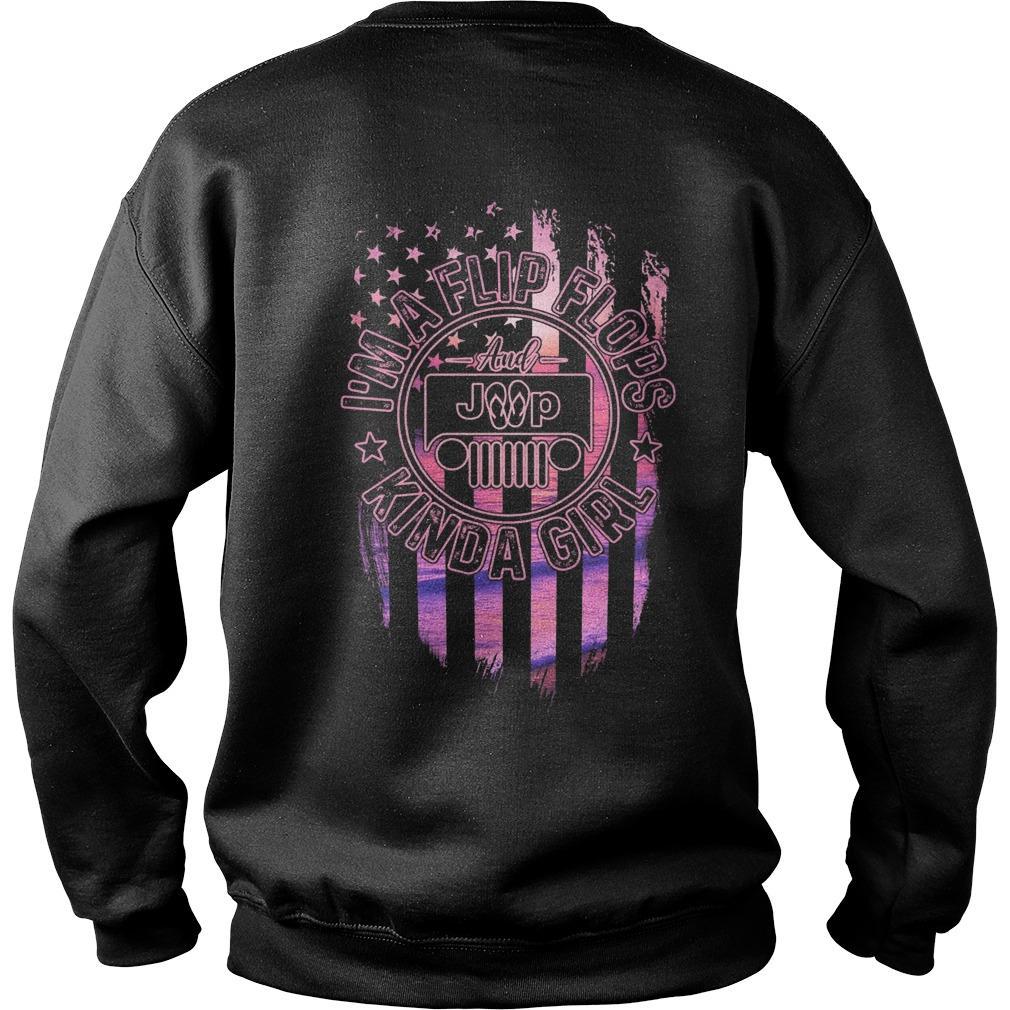 American Flag Jeep Girl I'm A Flip Flops Kinda Girl Sweater