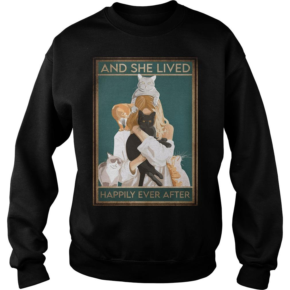 Girl Hugging Cat Happily Ever After Sweater
