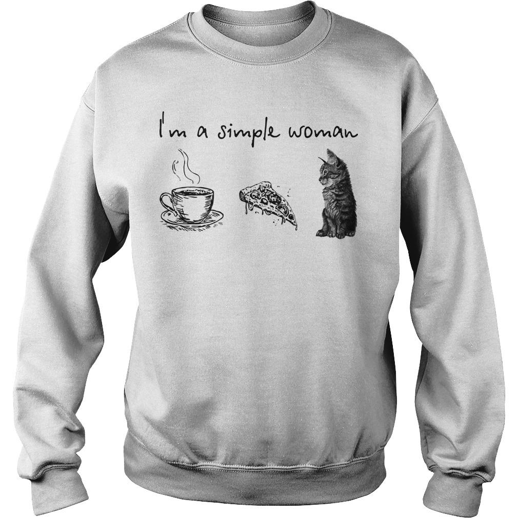 I'm A Simple Woman Tea Pizza Cat Sweater