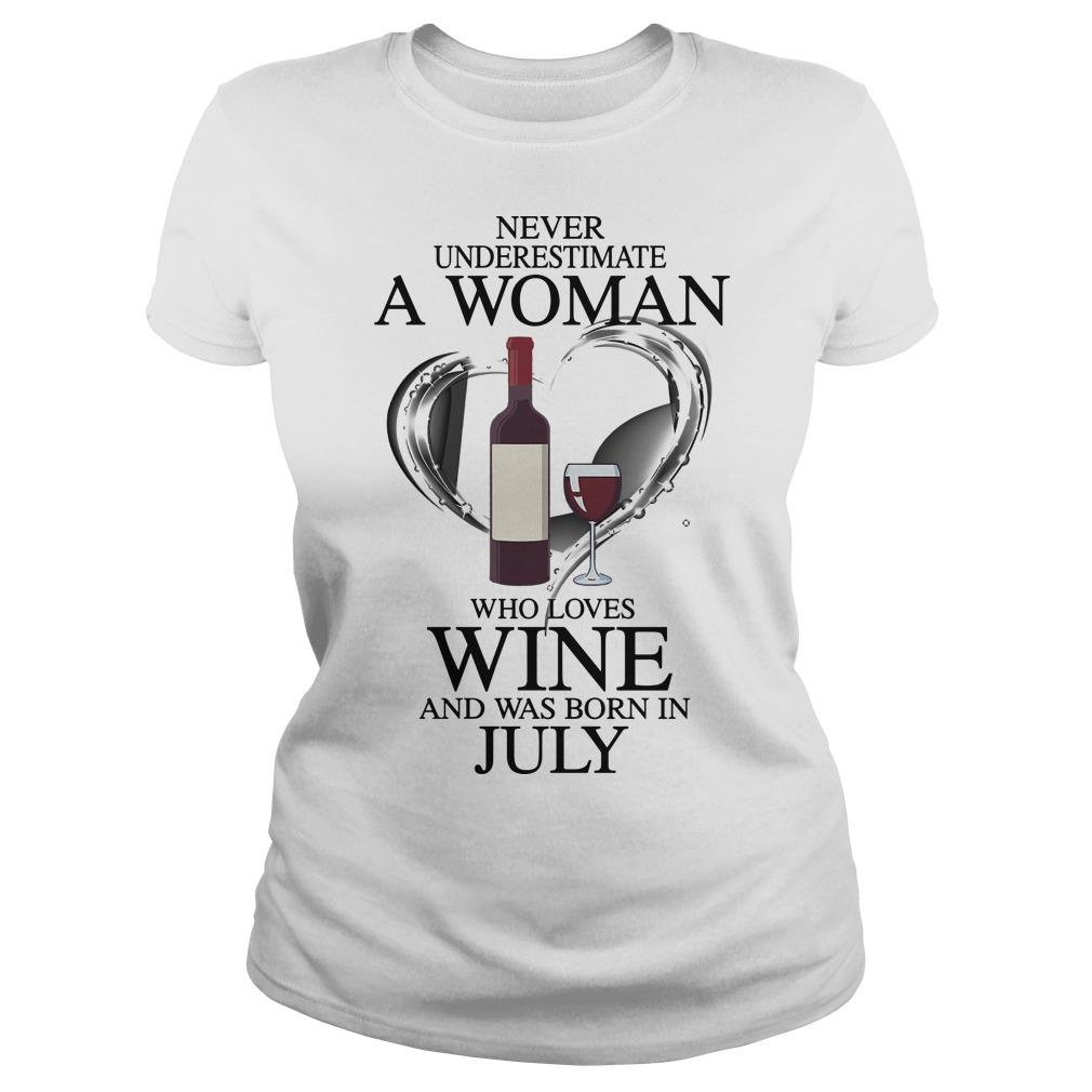 Never Underestimate A Woman Who Loves Wine And Was Born In July Longsleeve
