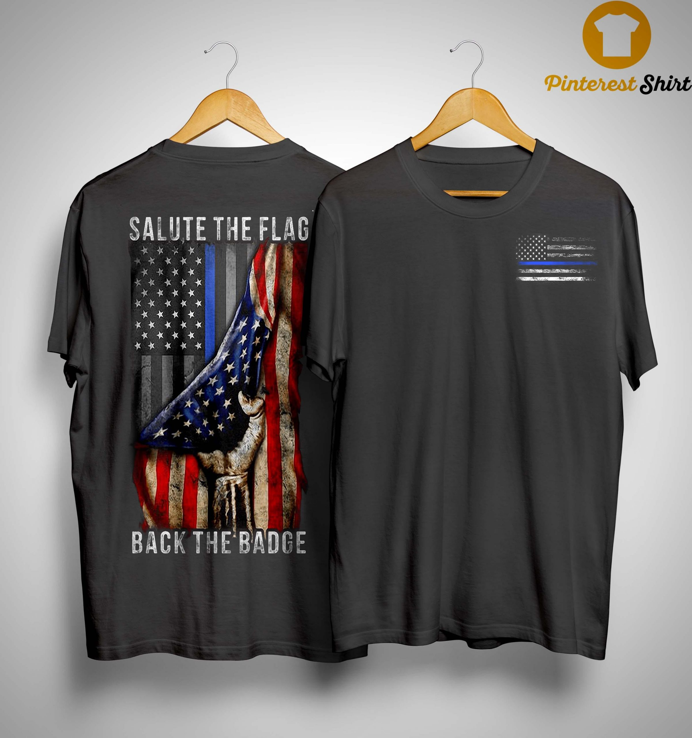 American Flag Salute The Flag Back The Badge Shirt