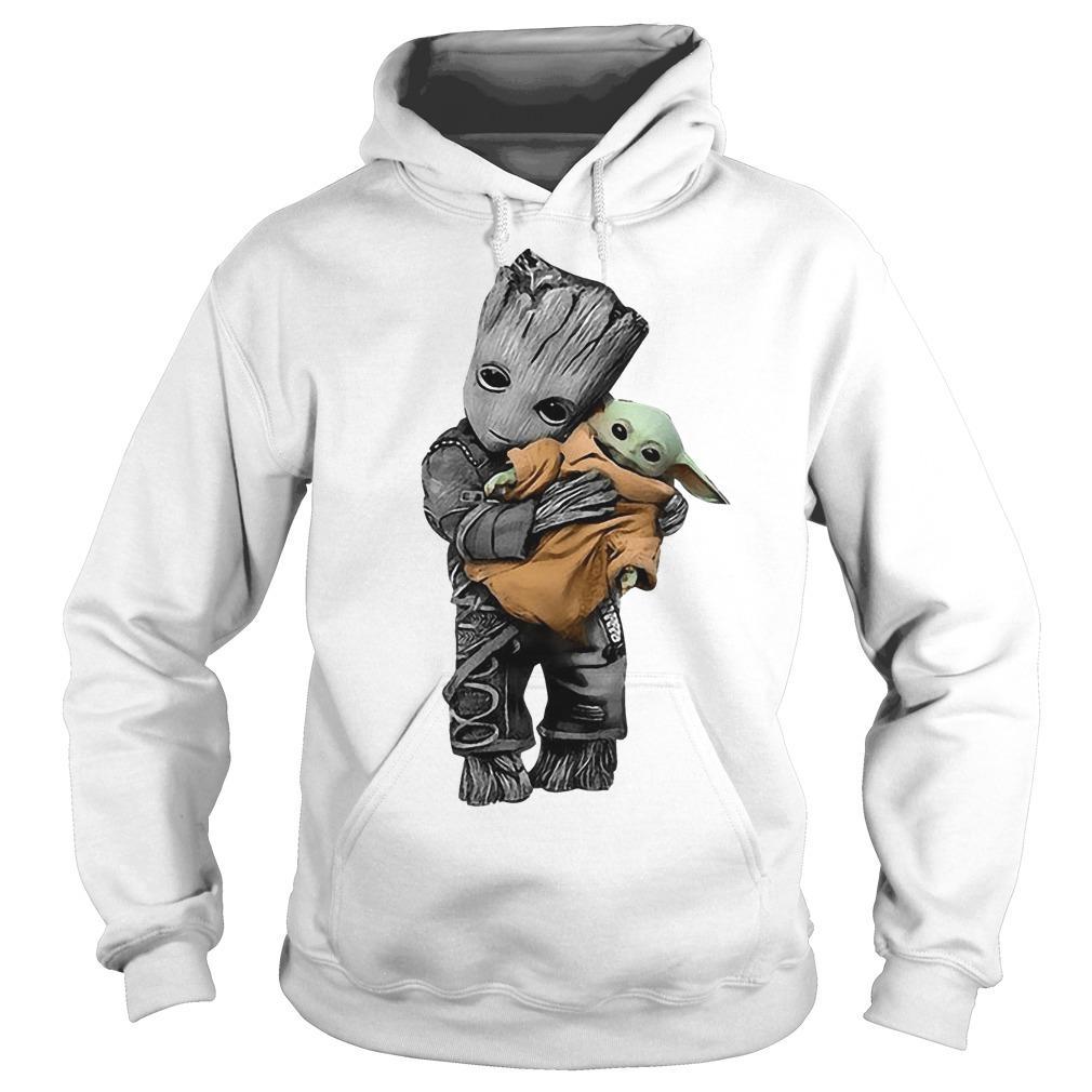 Baby Groot Hugging Baby Yoda Hoodie