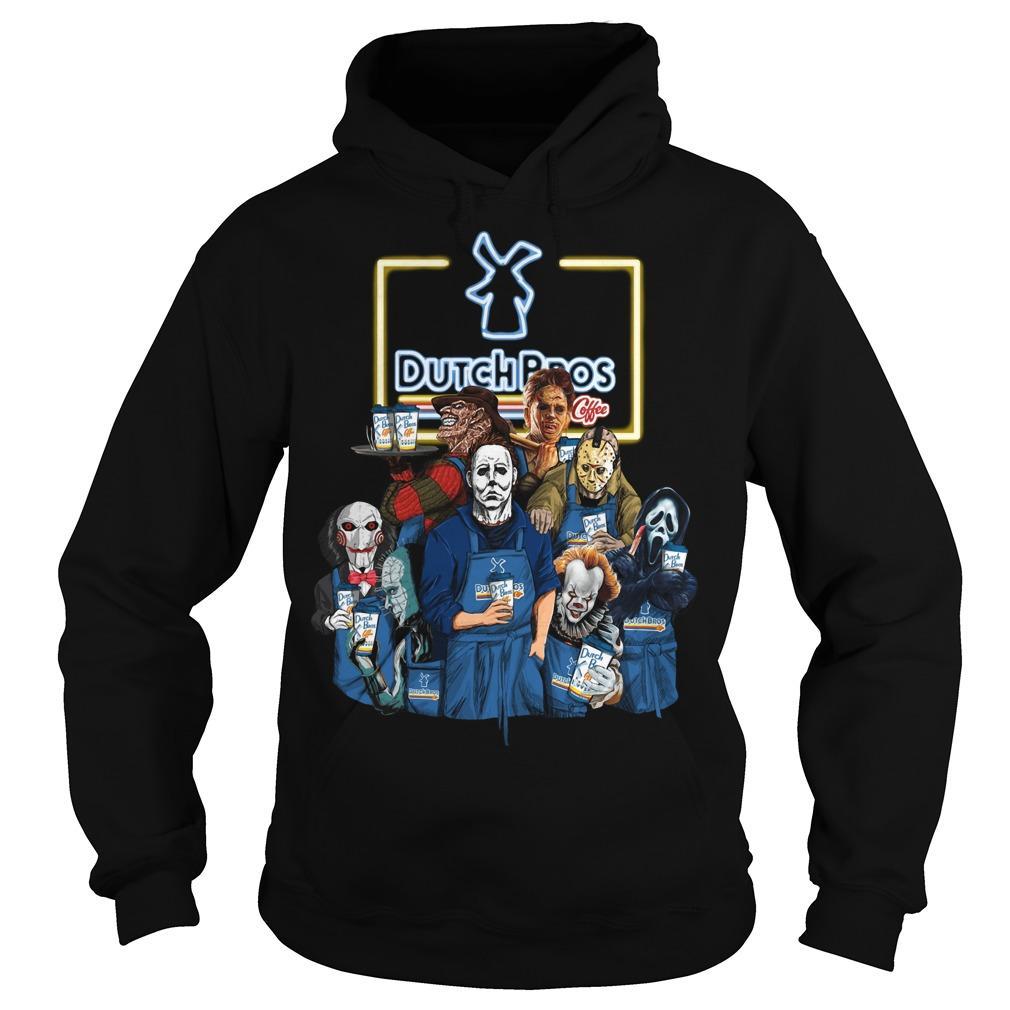 Halloween Horror Characters Dutch Bros Hoodie