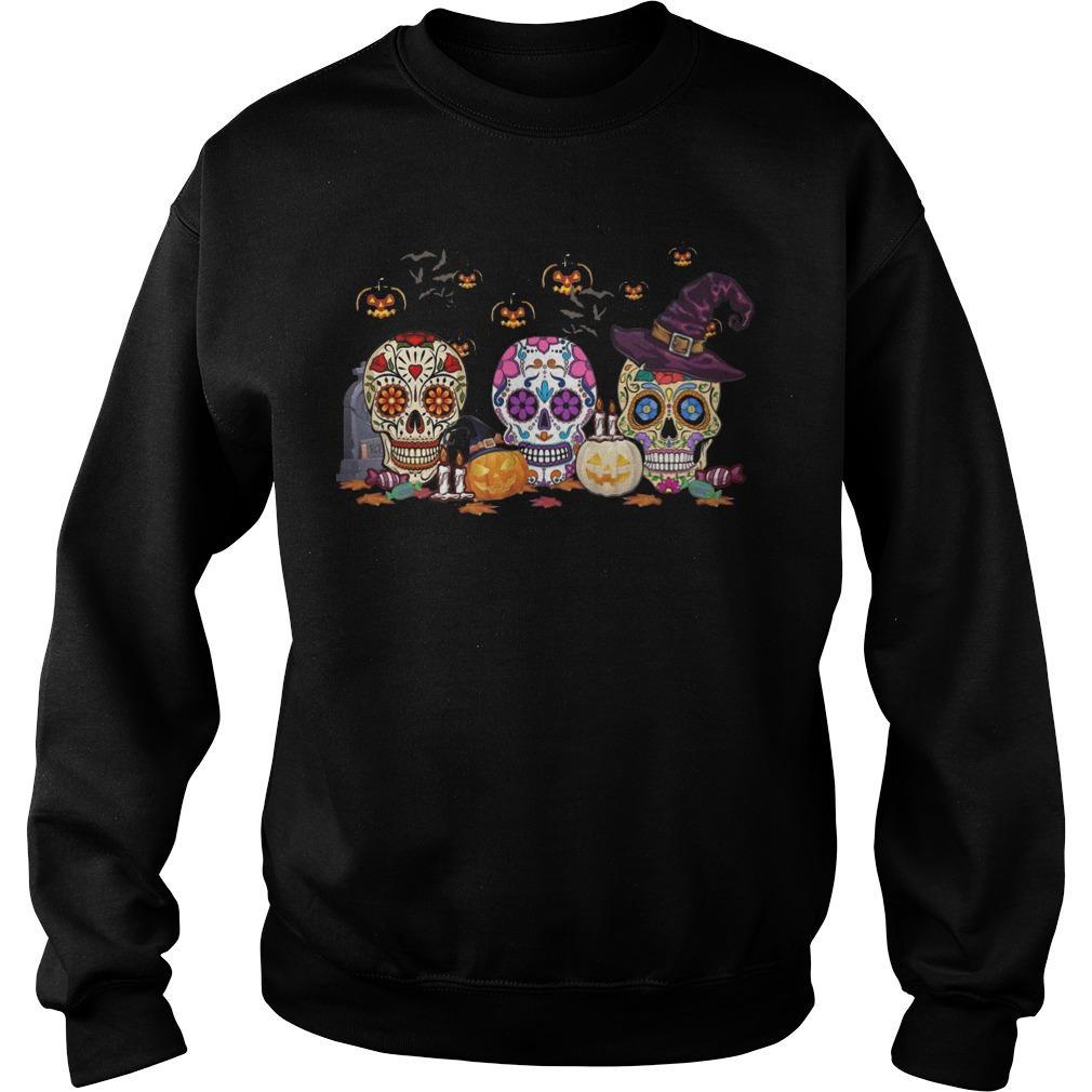Halloween Pumpkin Hippie Skull Sweater