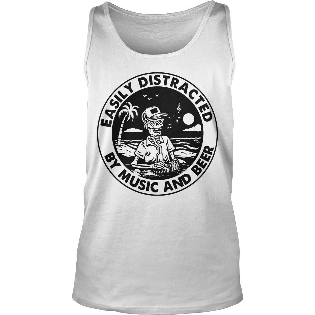 Skellington Easily Distracted By Music And Beer Tank Top