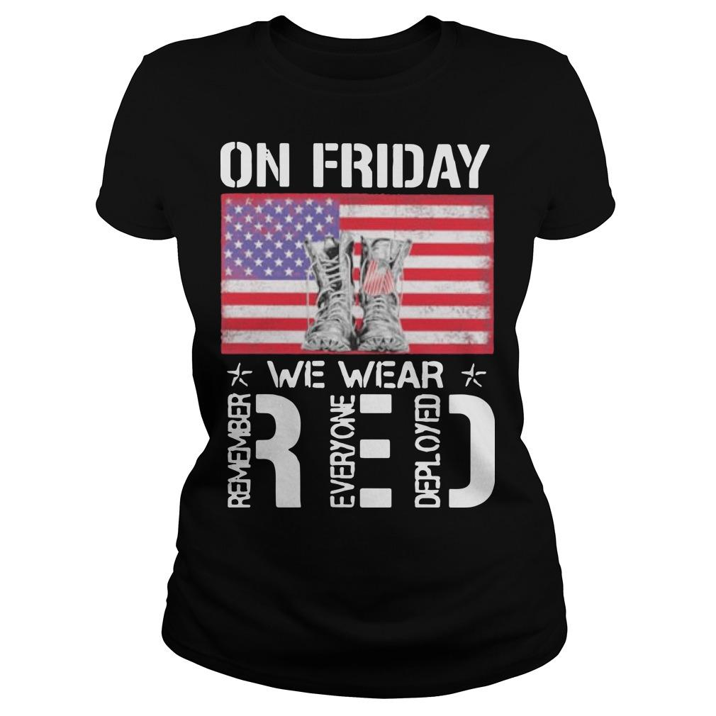 American Flag On Friday Wear Red Remember Everyone Deployed Longsleeve