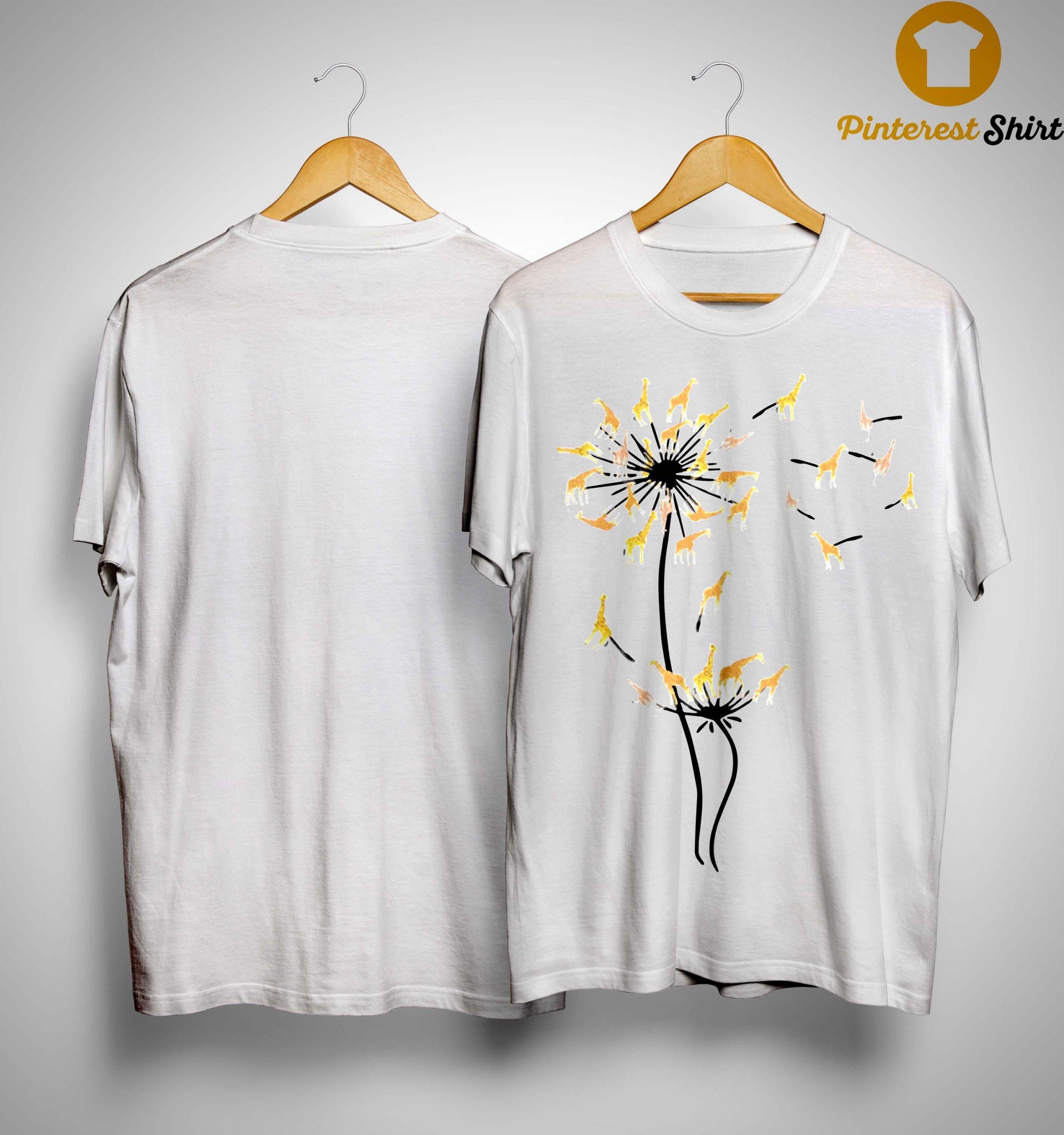 Dandelion Flower Giraffe Shirt