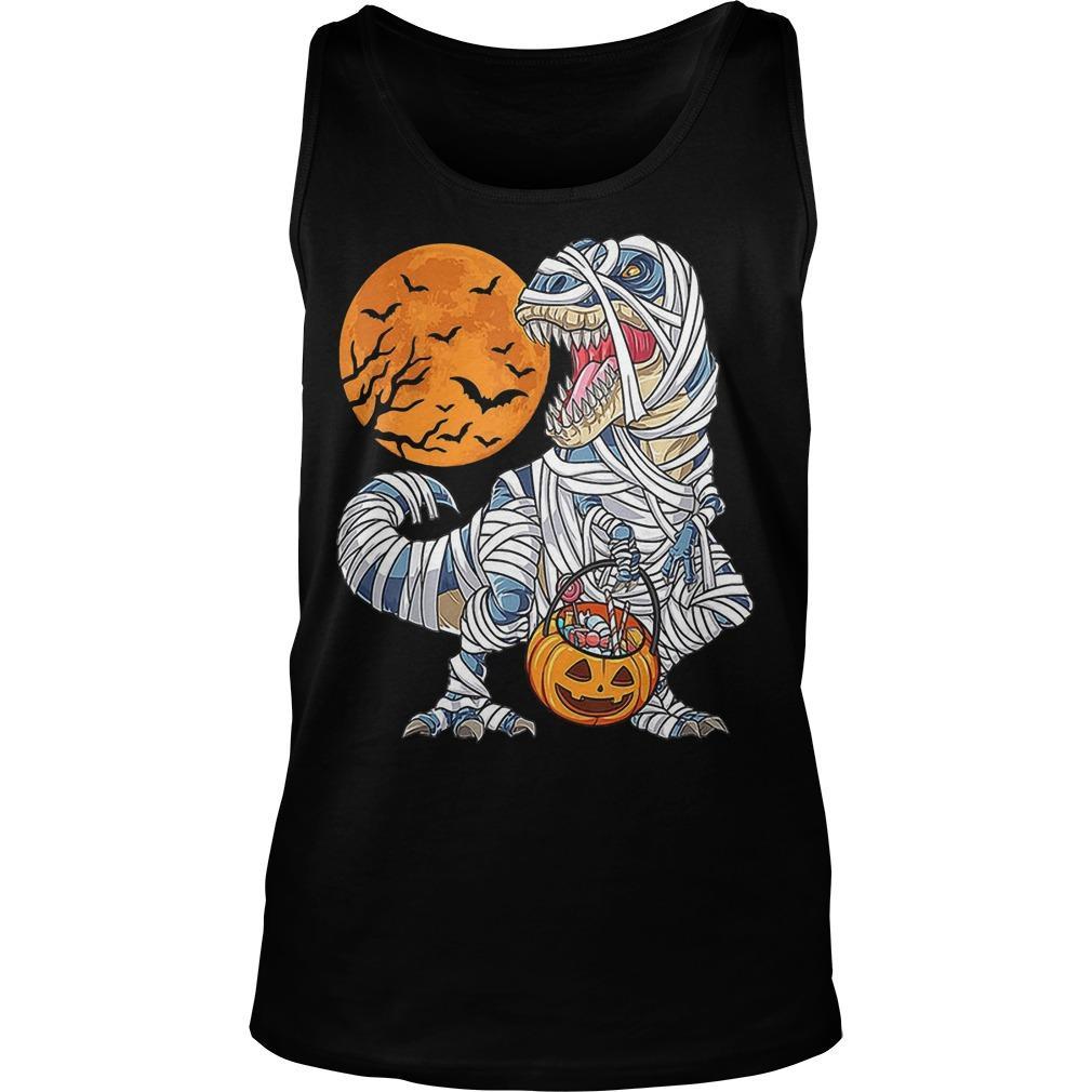 Halloween Dinosaur T Rex Mummy Pumpkin Tank Top