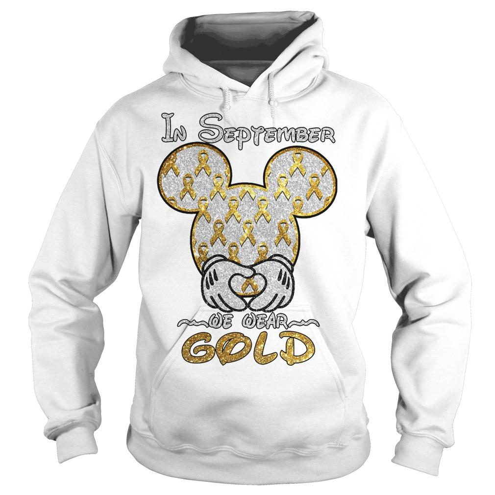 Mickey Mouse In September We Wear Gold Hoodie