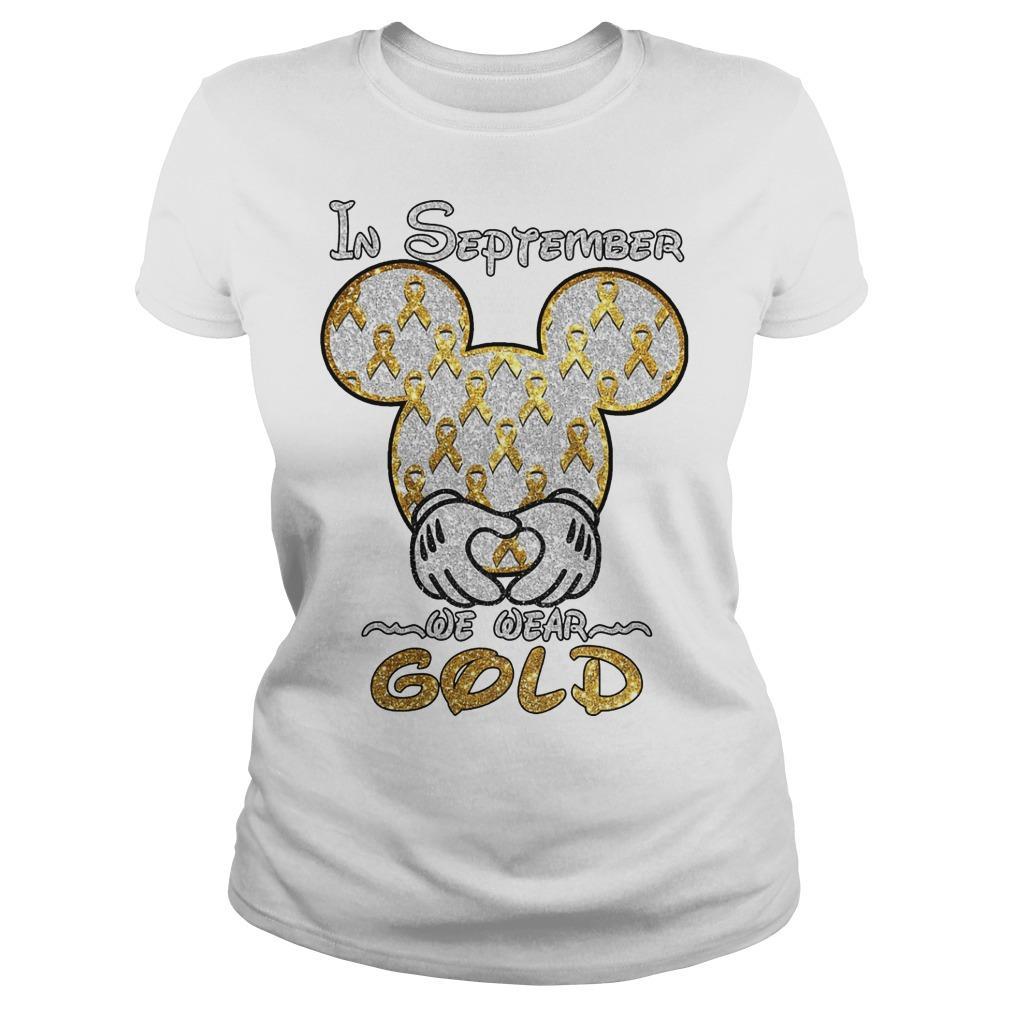 Mickey Mouse In September We Wear Gold Longsleeve