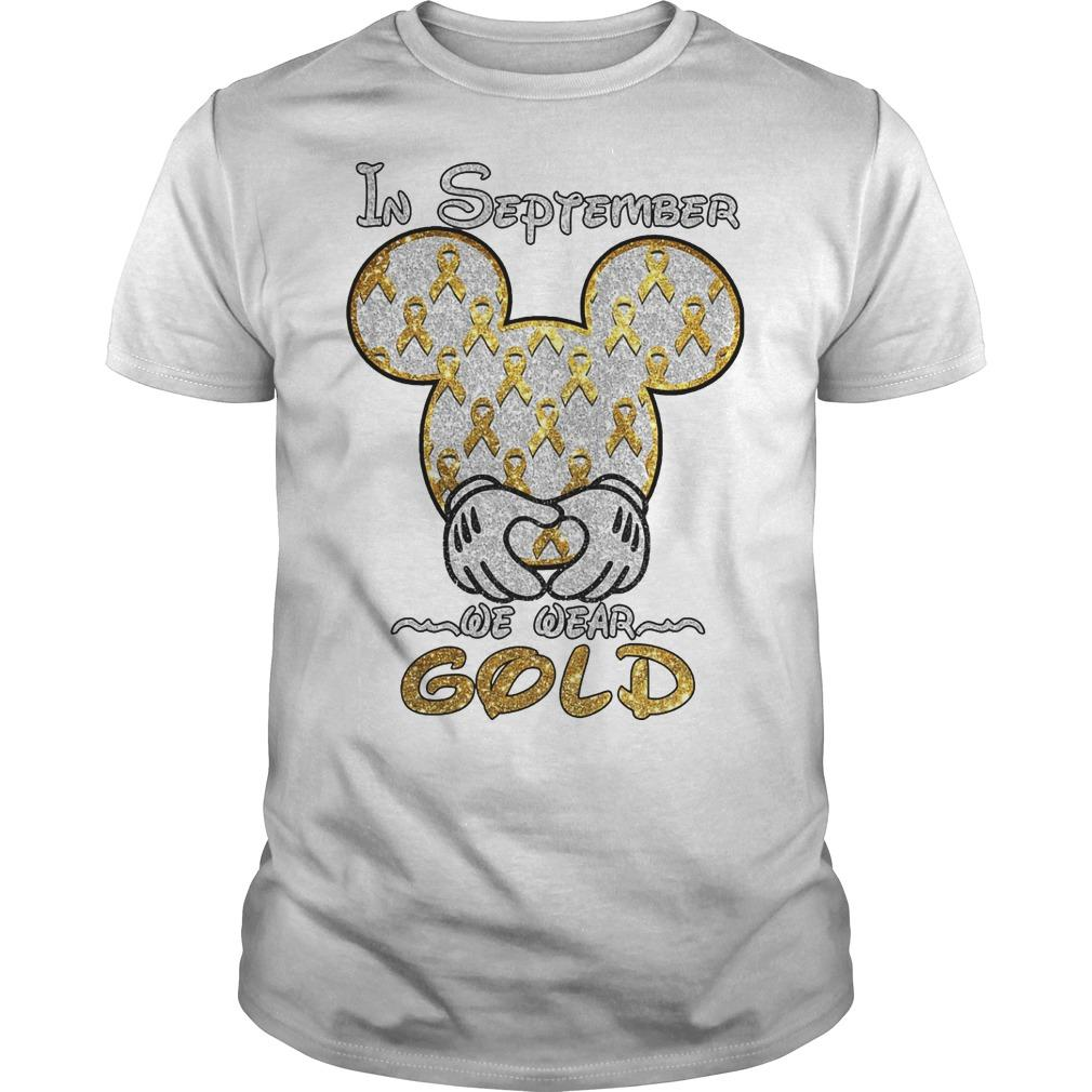 Mickey Mouse In September We Wear Gold Shirt