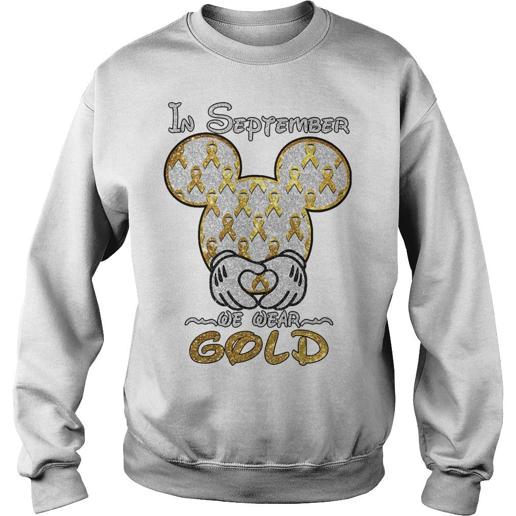 Mickey Mouse In September We Wear Gold Sweater