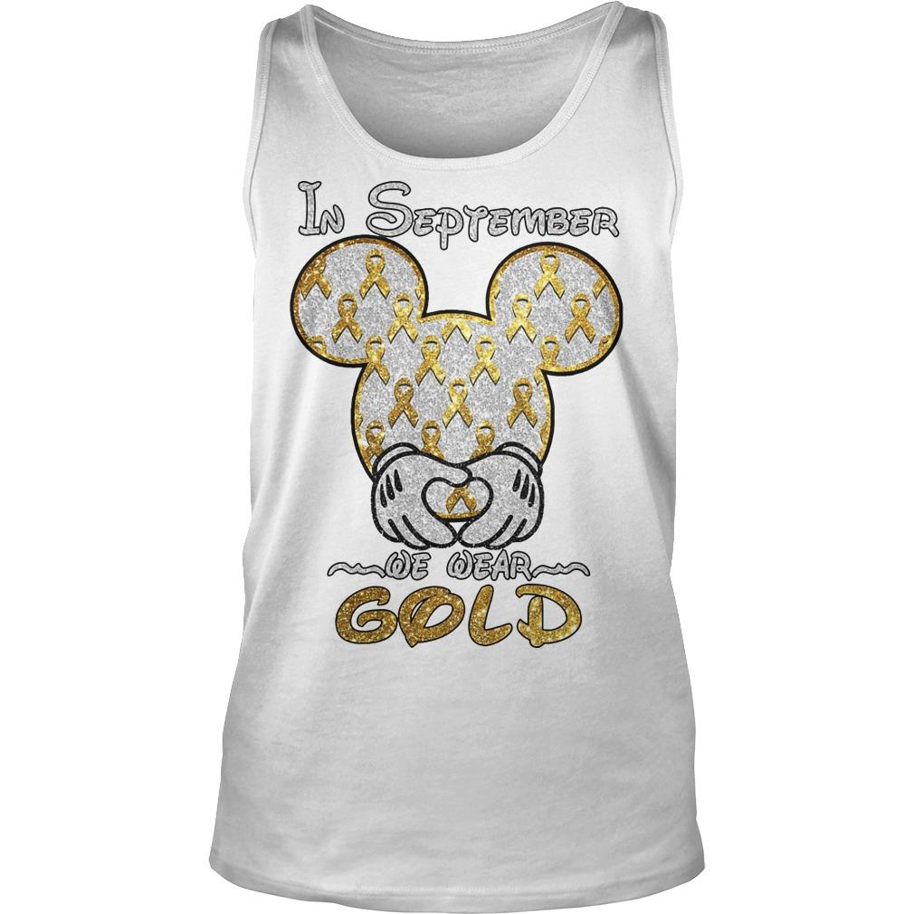 Mickey Mouse In September We Wear Gold Tank Top