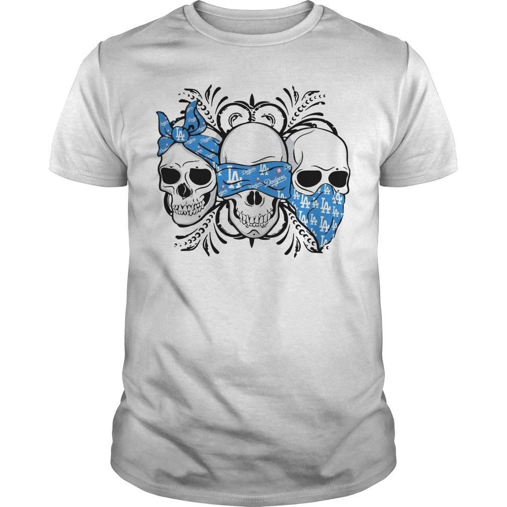 Three Skull Los Angeles Dodgers Shirt