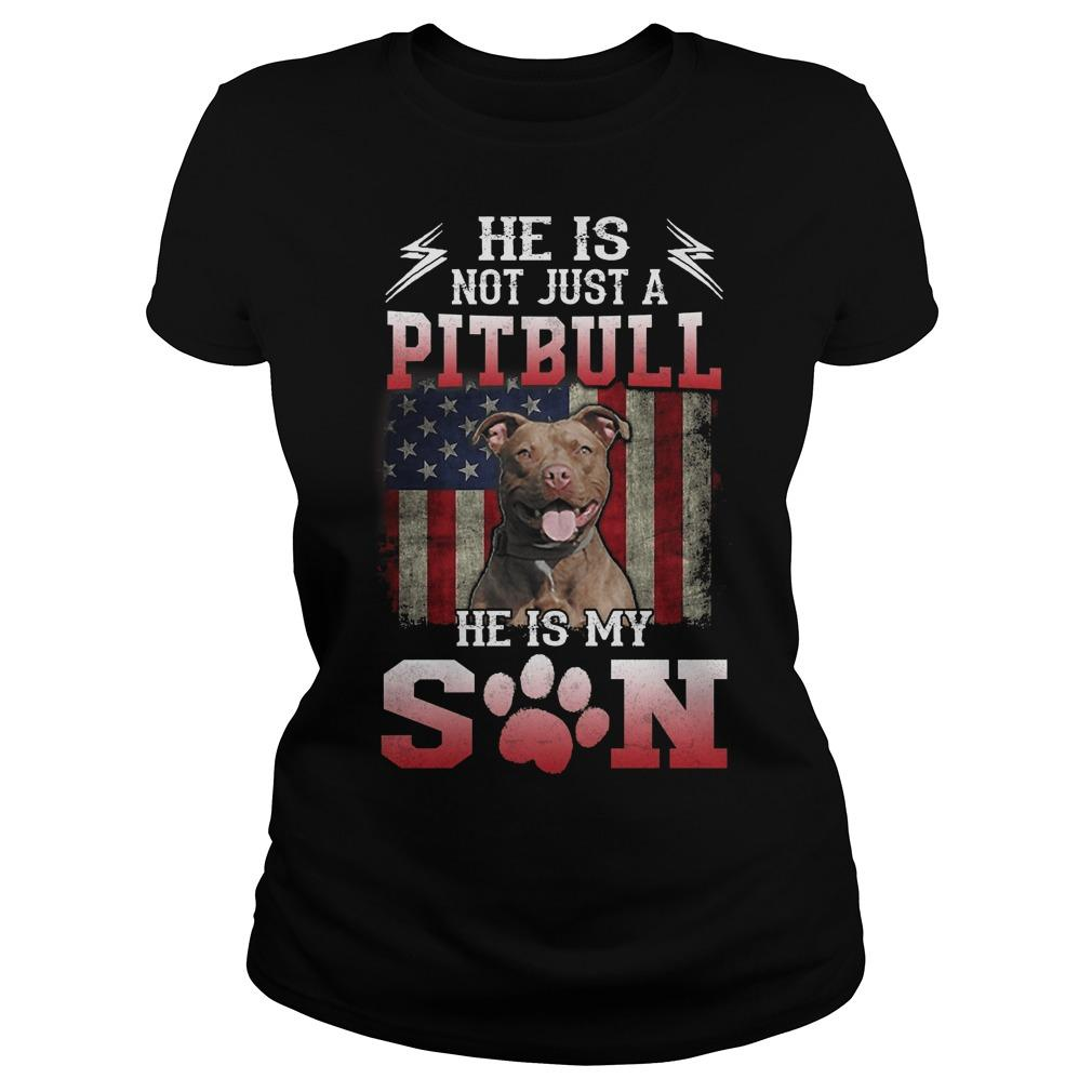American Flag He Is Not Just A Pitbull He Is My Son Longsleeve