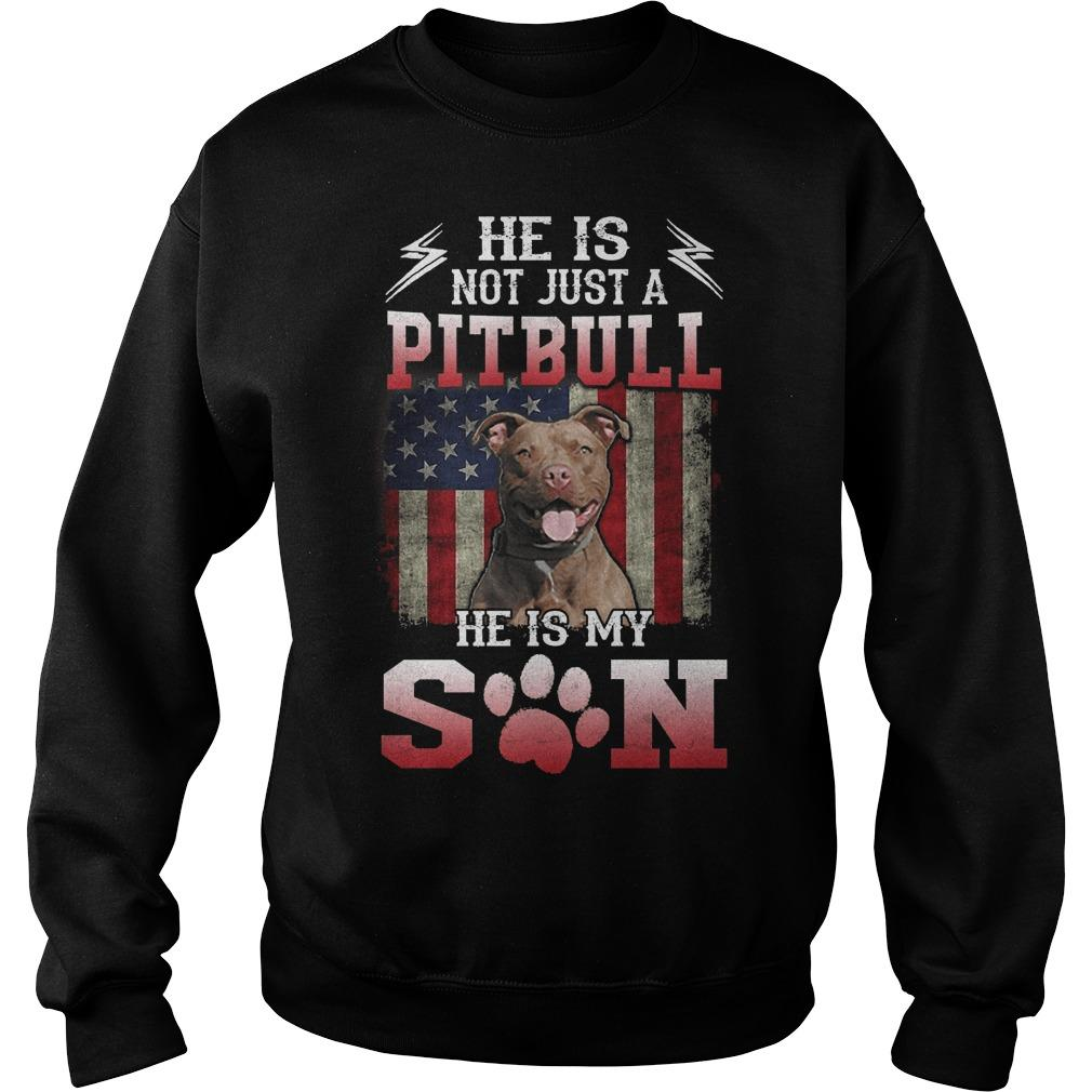 American Flag He Is Not Just A Pitbull He Is My Son Sweater