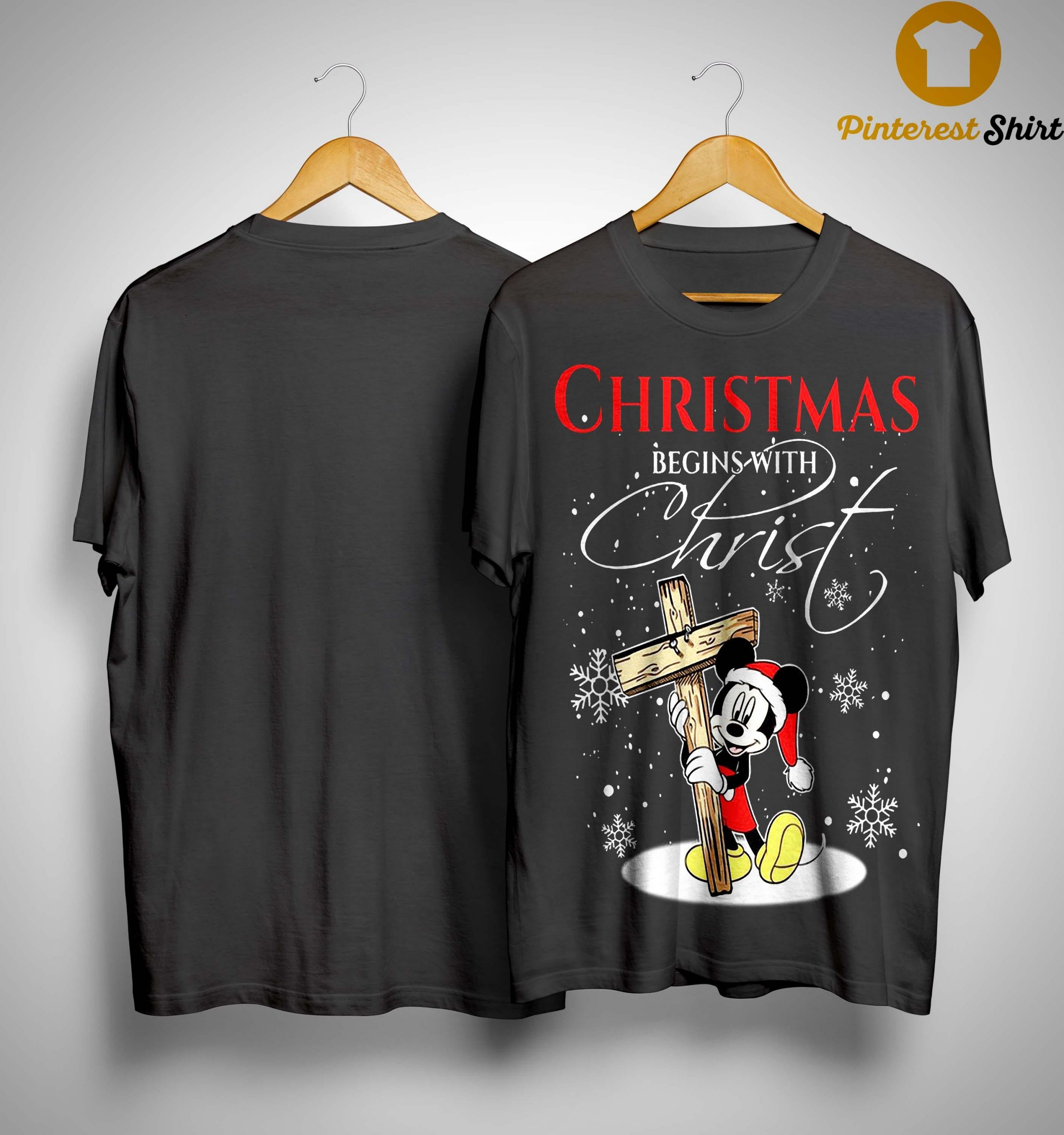 Mickey Mouse Christmas Begins With Christ Shirt