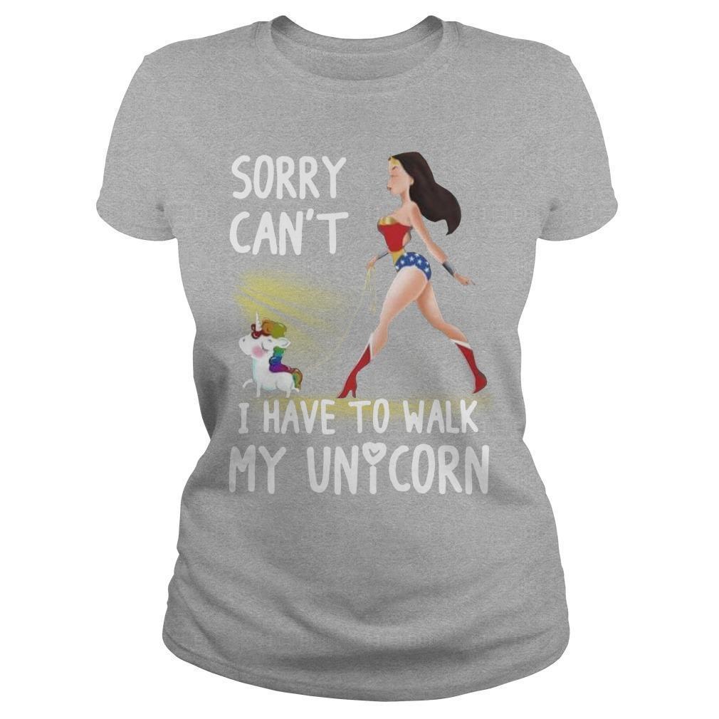 Wonder Woman Sorry Can't I Have To Walk My Unicorn Longsleeve