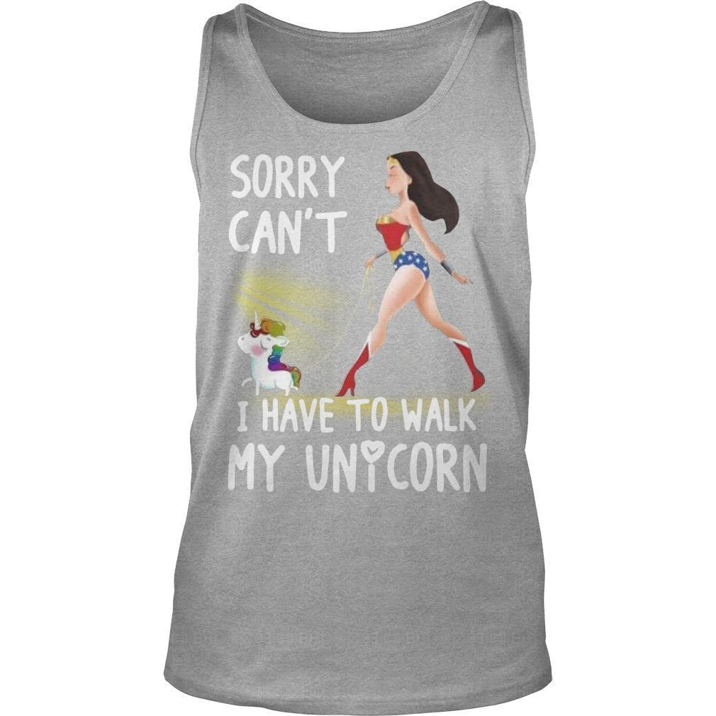 Wonder Woman Sorry Can't I Have To Walk My Unicorn Tank Top