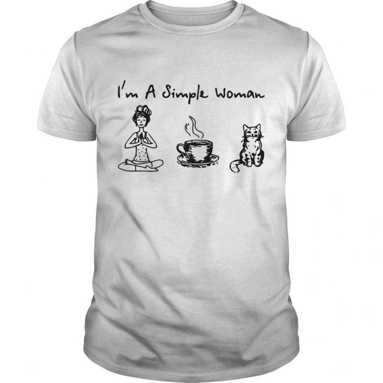 I'm A Simple Woman I Like Yoga Coffee And Cat Shirt
