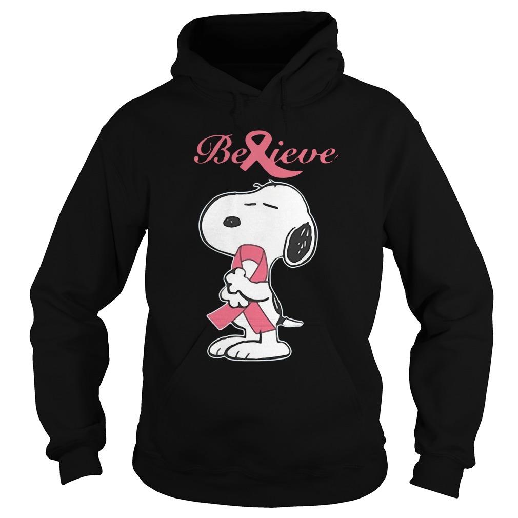 Snoopy Believe Breast Cancer Hoodie