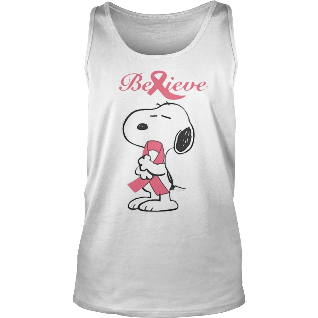 Snoopy Believe Breast Cancer Tank Top