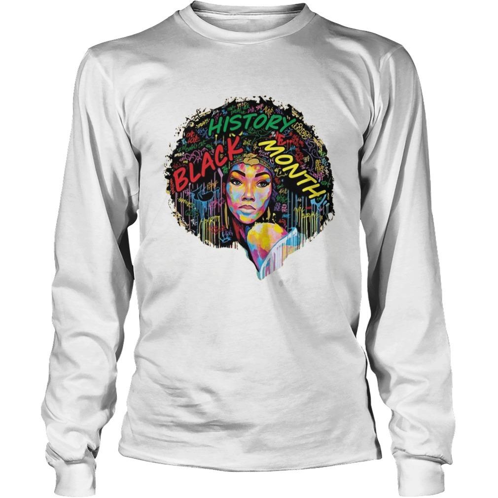 Black History Month Afro Word Art Natural Hair Longsleeve Tee