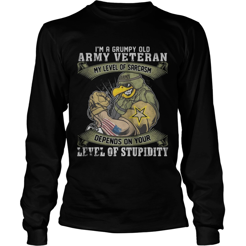 I'm A Grumpy Old Army Veteran My Level Of Sarcasm Depends On Your Level Of Stupidity Longsleeve Tee