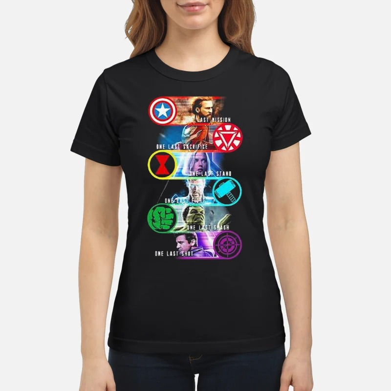 Avenger Endgame One Last Mission Sacrifice Stand Fight Smash Shot Ladies Shirt