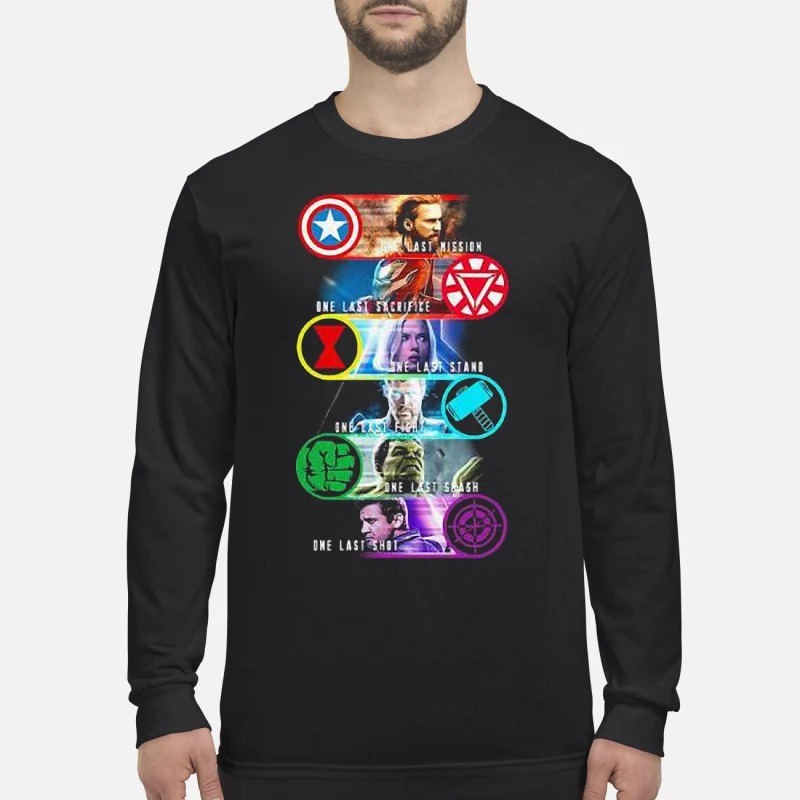 Avenger Endgame One Last Mission Sacrifice Stand Fight Smash Shot Longsleeve Tee
