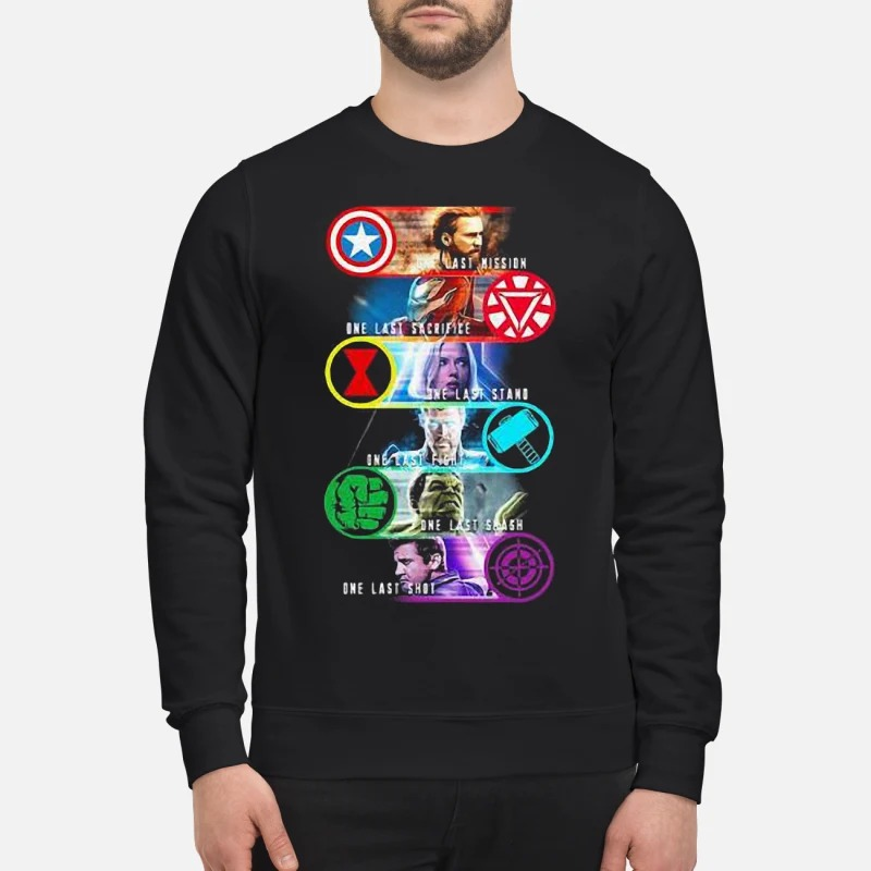 Avenger Endgame One Last Mission Sacrifice Stand Fight Smash Shot Sweater