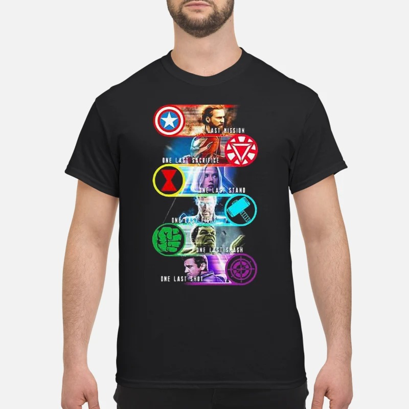 Avenger Endgame one last mission sacrifice stand fight smash shot shirt