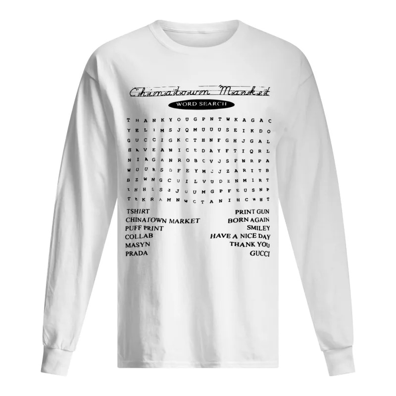 Blazzy Word Search China Town Market Longsleeve Tee