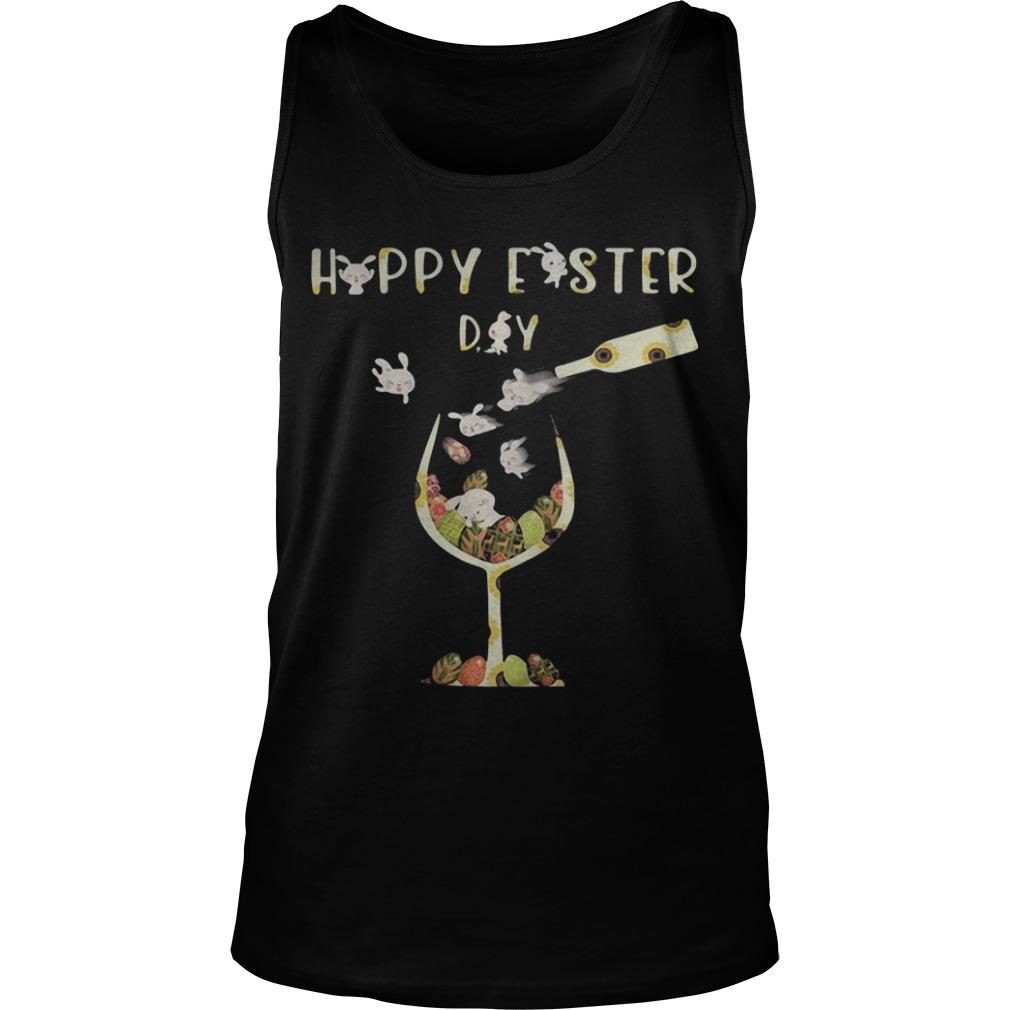 Bunny Wine Happy Easter Day Tank Top