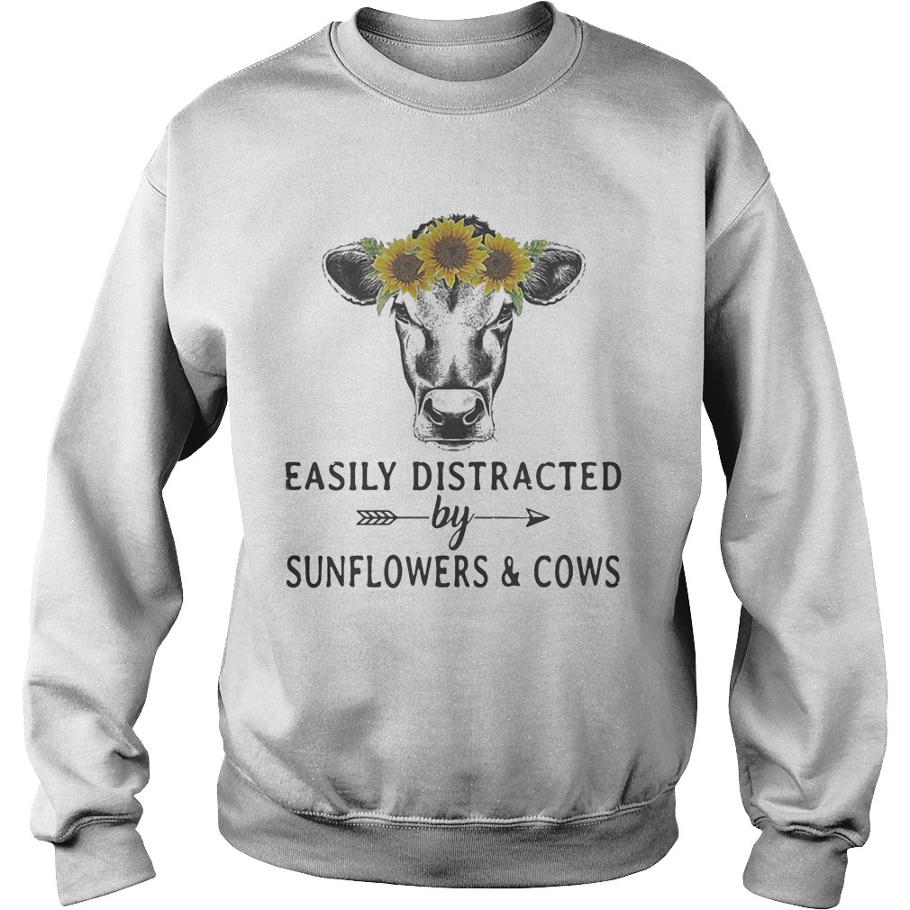 Easily Distracted By Sunflower And Cows Sweater