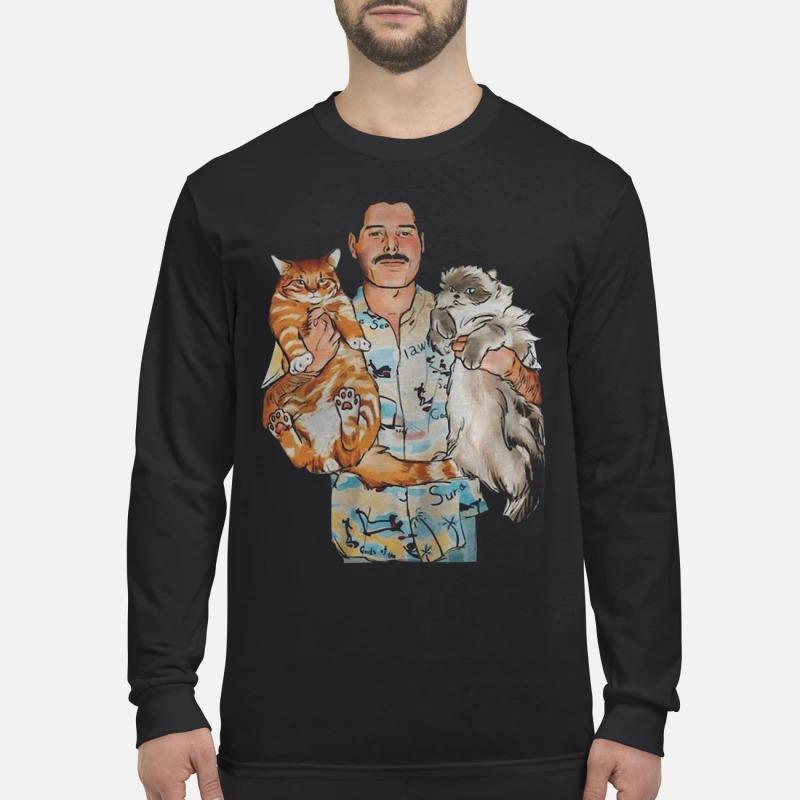 Freddie Mercury Hug Cats Longsleeve Tee
