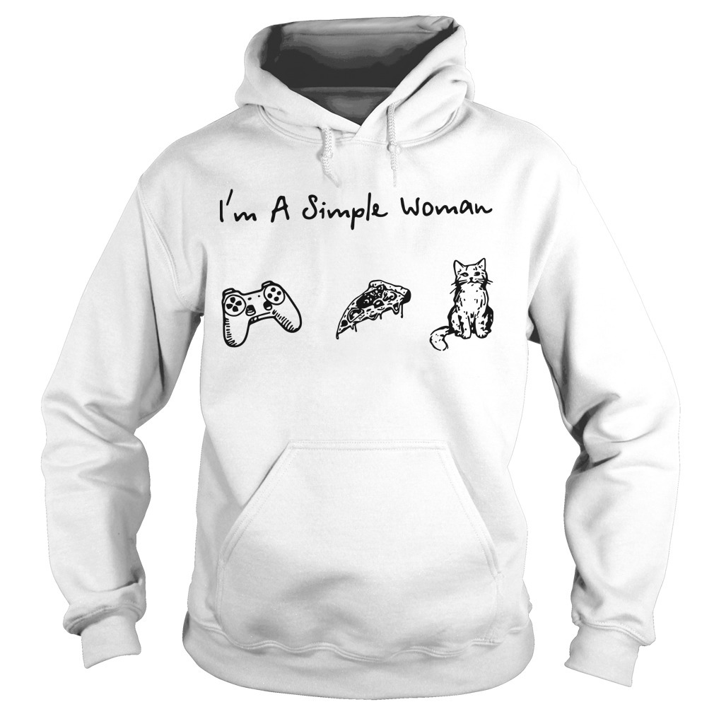 I'm A Simple Woman I Like Game Pizza And Cat Hoodie