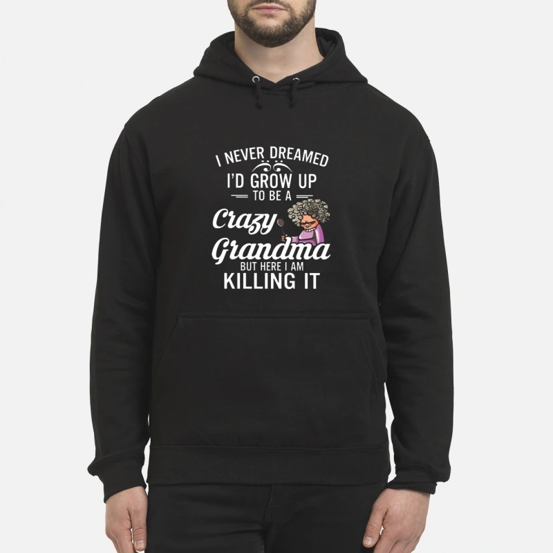 I Never Dreamed I'd Grow Up To Be A Crazy Grandma But Here I Am Killing It Hoodie