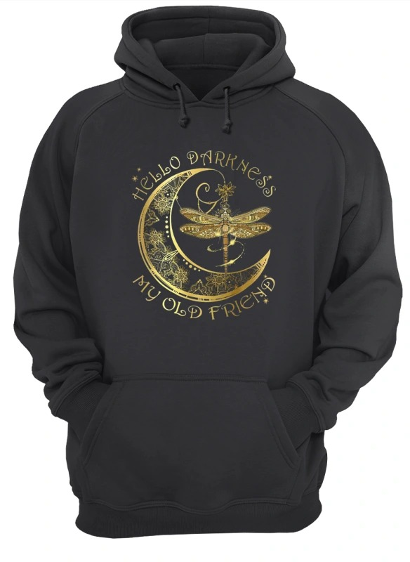Moon Dragonfly Hello Darkness My Old Friend Hoodie