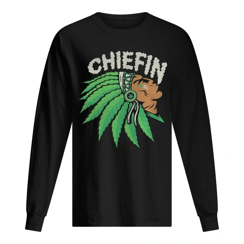 Native Indian Smoking Weed Chiefin Longsleeve Tee