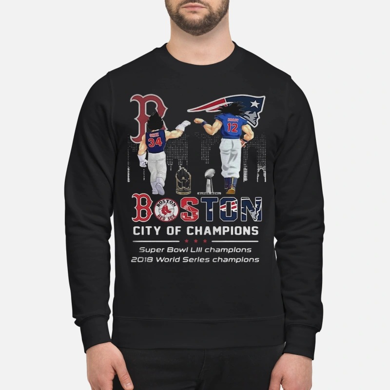 Son Goku And Vegeta Patriots Boston City Of Champions Super Bowl Sweater